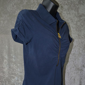 MICHAEL KORS 1/2 ZIP PULLOVER PLEATED BLOUSE